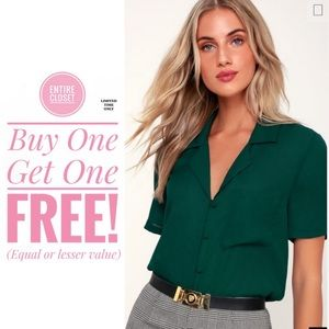 NWT Lulus Dark Green short sleeve blouse top